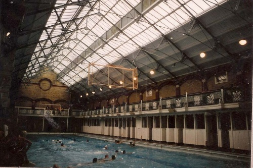 North Road Swimming Baths were built in 1895 and initially were open to men and women on separate days. This photograph was taken just before it closed in November 1979. The Prince Regent swimming pool was built on the site. Image courtesy of Brighton Town Press