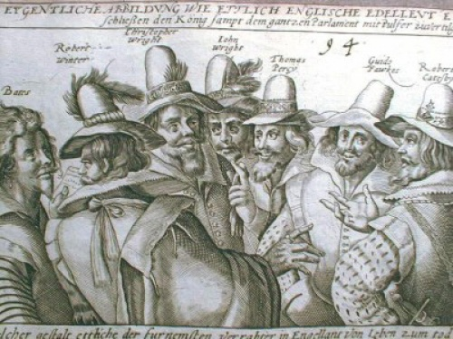 """The Great Conspiracy"" a contemporary Dutch engraving of Guy Fawkes and his fellow conspirators. The gunpowder plot aimed to blow up Parliament, the King, and the House of Lords and return Catholicism to Britain."