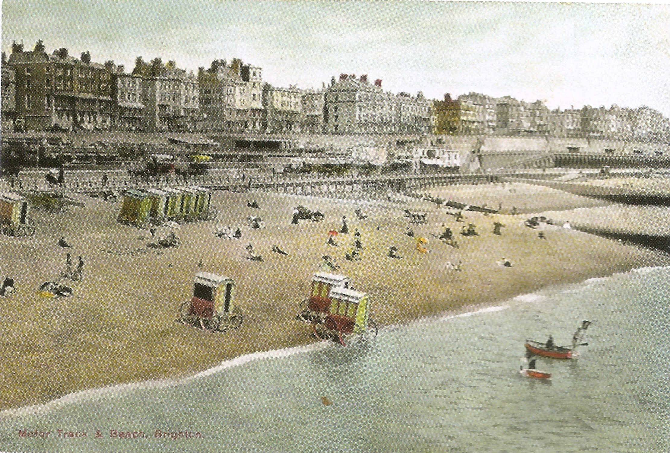 Victorian and Edwardian bathing machines at Brighton were brightly painted and had curved, stepped roofs