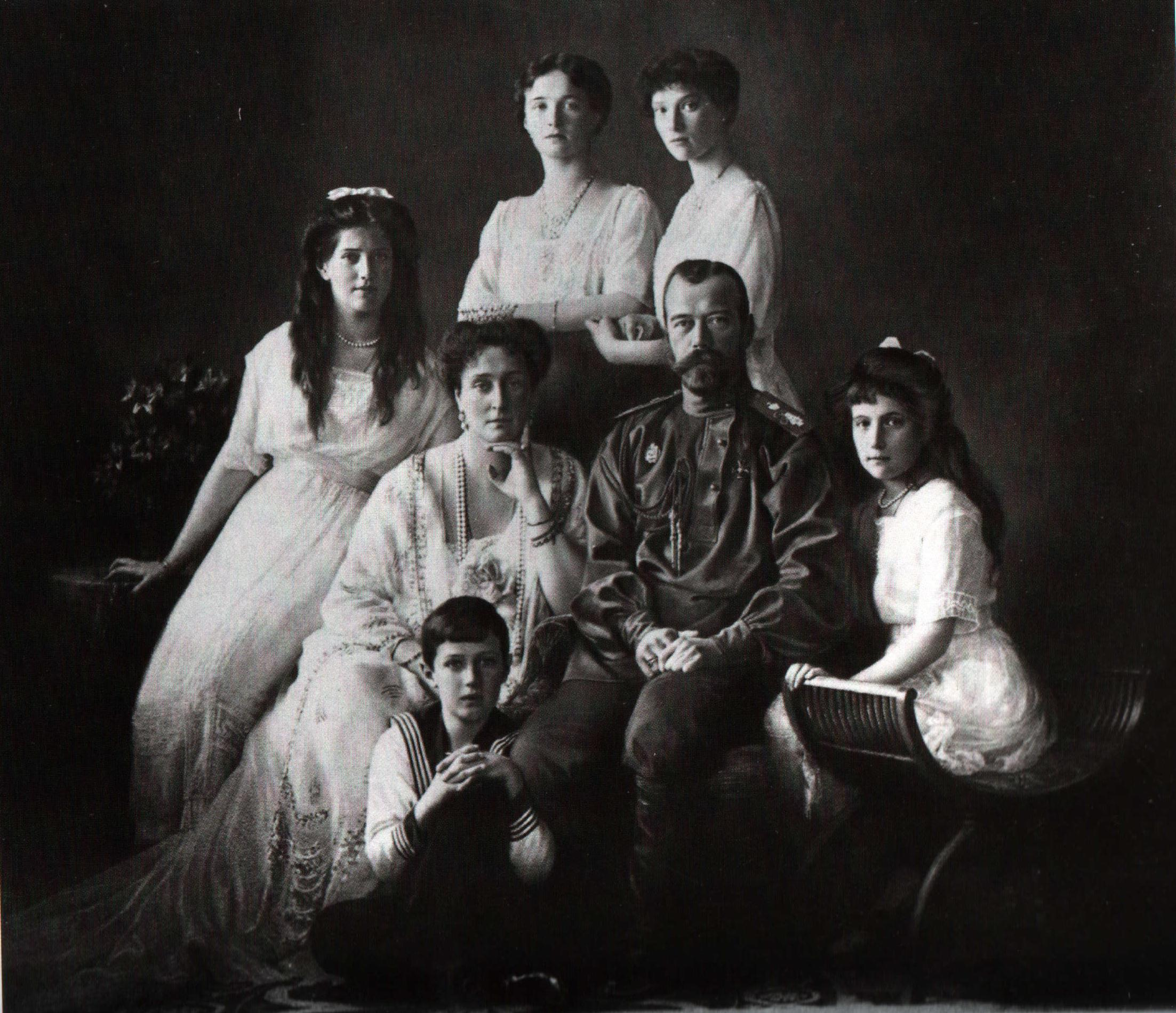 Tsar Nicholas II of Russia and his family, photographed in 1913 (Wikimedia Commons)