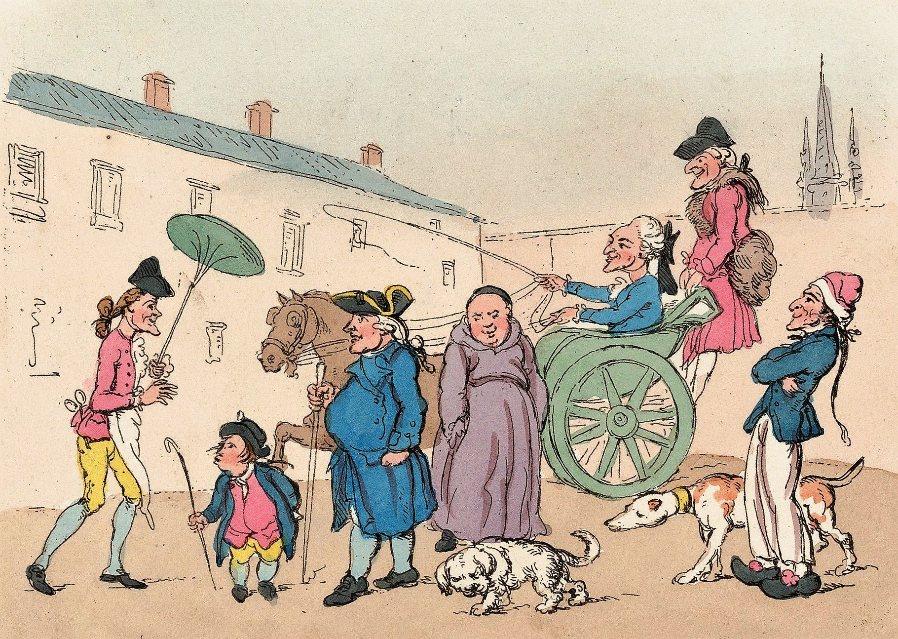 Paris, considered the greatest city in 18th-century Europe, was usually the first stop on the Grand Tour, as depicted in this satirical print, Englishman at Paris, after W H Bunbury, 1767 
