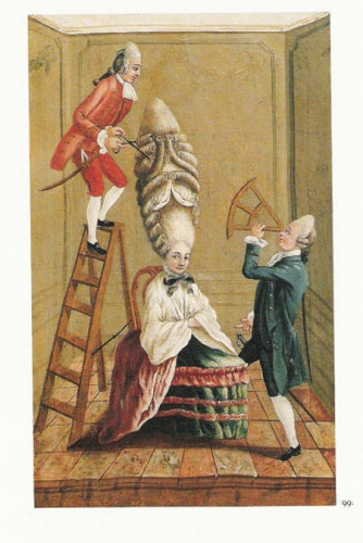 The towering powdered wigs adopted by 'macaronis' in the 1770s were lampooned in popular prints like Ridiculous Taste or The Ladies' Absurdity, 1771
