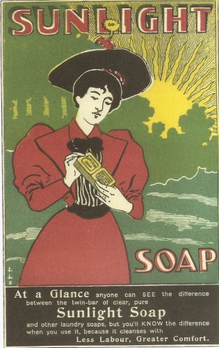 Laundry soap was the basic cleaning agent for washing 'whites' and other items. Sunlight soap was the world's first branded, packaged laundry soap, seen here in a poster of c.1895-96