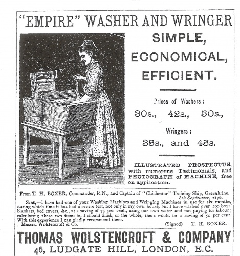 This advert from Whitaker's Almanack, 1878, shows one of many Victorian 'machines' that aimed to make washing and wringing clothes easier, but all were manually operated