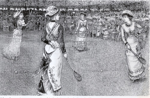 Women's tennis wear followed fashion, these ladies circling elegantly in figure-hugging 'Princess' dresses and tennis aprons with ball pockets (1879) [Jayne Shrimpton]