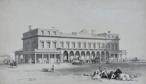 Courtesy Royal Pavilion & Museums, Brighton & Hove.  Brighton Railway Station 1840s.  The Brighton Gazette (16 September 1841) reported the railway cost £2,634,059 (£57,262 per mile).