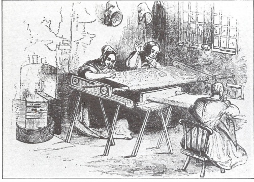 As the textile industry became mechanised, machine-made fabrics were often embroidered by poor women and children. These homeworkers were pictured embroidering net in 1843