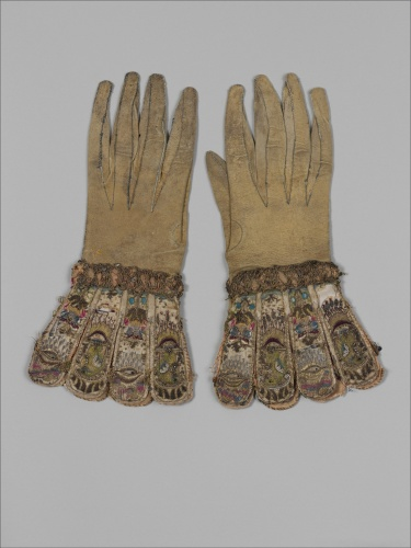 Handsome embroidered, scented gloves were fashionable in the late-1500s and early-1600s